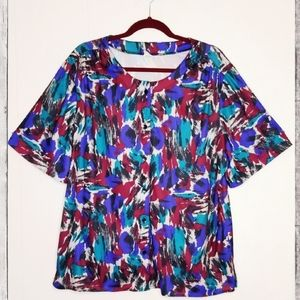 VINTAGE PLUS Abstract Pattern Short Sleeve Blouse
